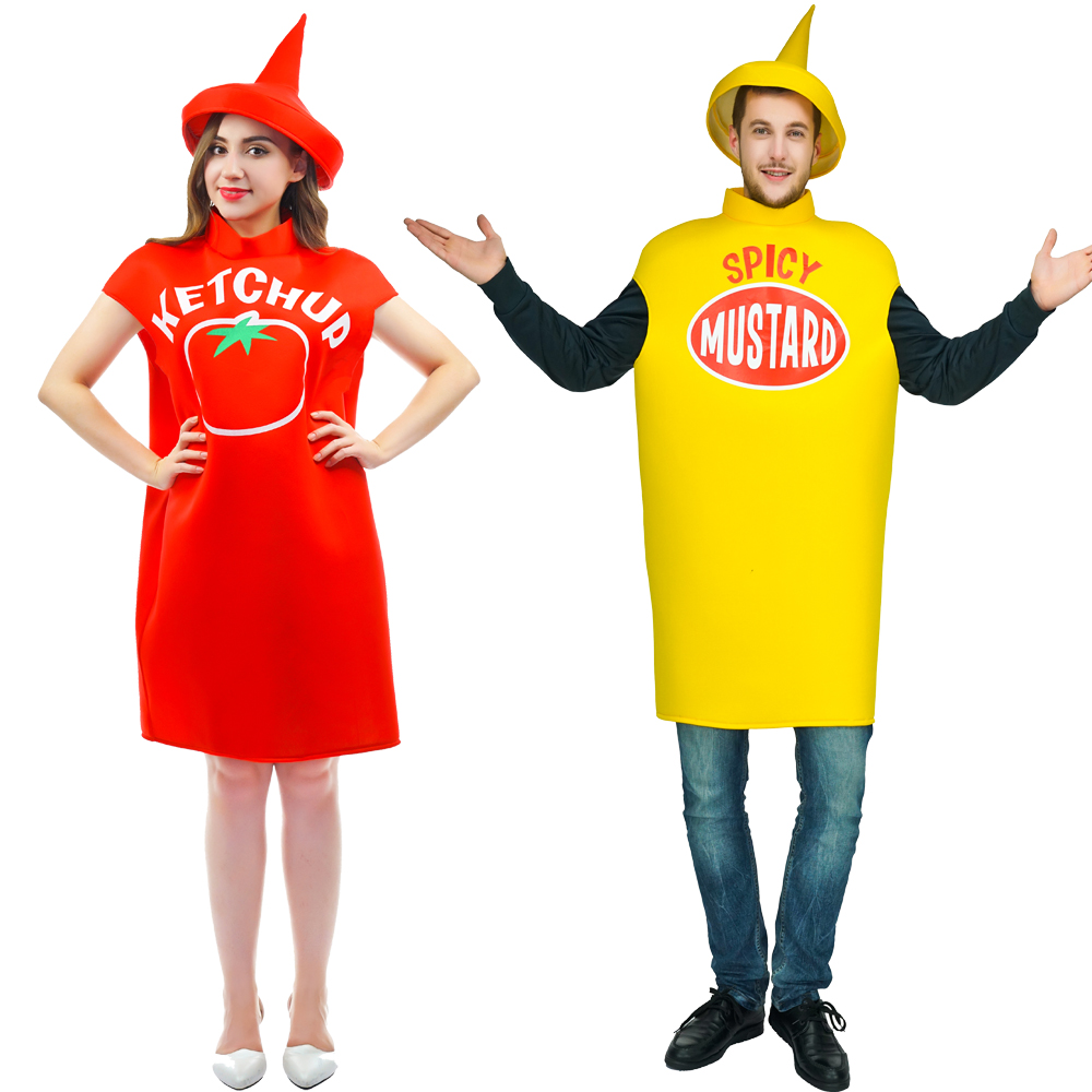 305e990b3df 2018 New customized free size tomato ketchup Costume spicy mustard Costume  With Hat top costumes Halloween Couples costumes