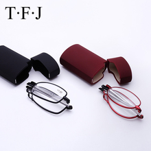Stainless Steel Mini Folding Reading Glasses Men Foldable Hyperopia Diopter Eyeglasses Magnifying Eyewear Case
