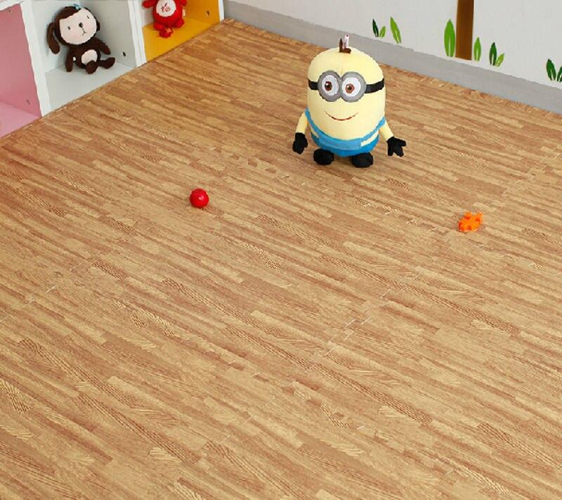 New large interlocking wood effect eva foam mats tiles gym play