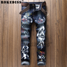 distressed jeans 2017 New Spring and Autumn fashion printing paintstreet Straight pants Men personality locomotive trousers C179