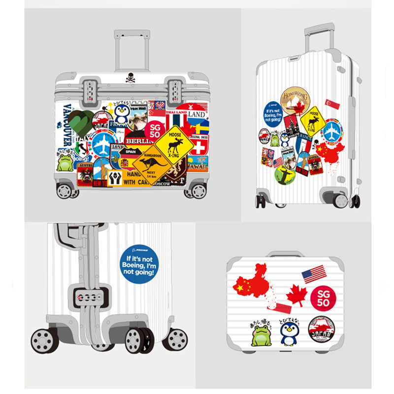 Image 5 - 39Pcs Fashion Brand Logo Travel Map Sticker Waterproof Vinyl Stickers For Laptop Cover Skateboard IPad MacBook Car Luggage Decal-in Laptop Skins from Computer & Office