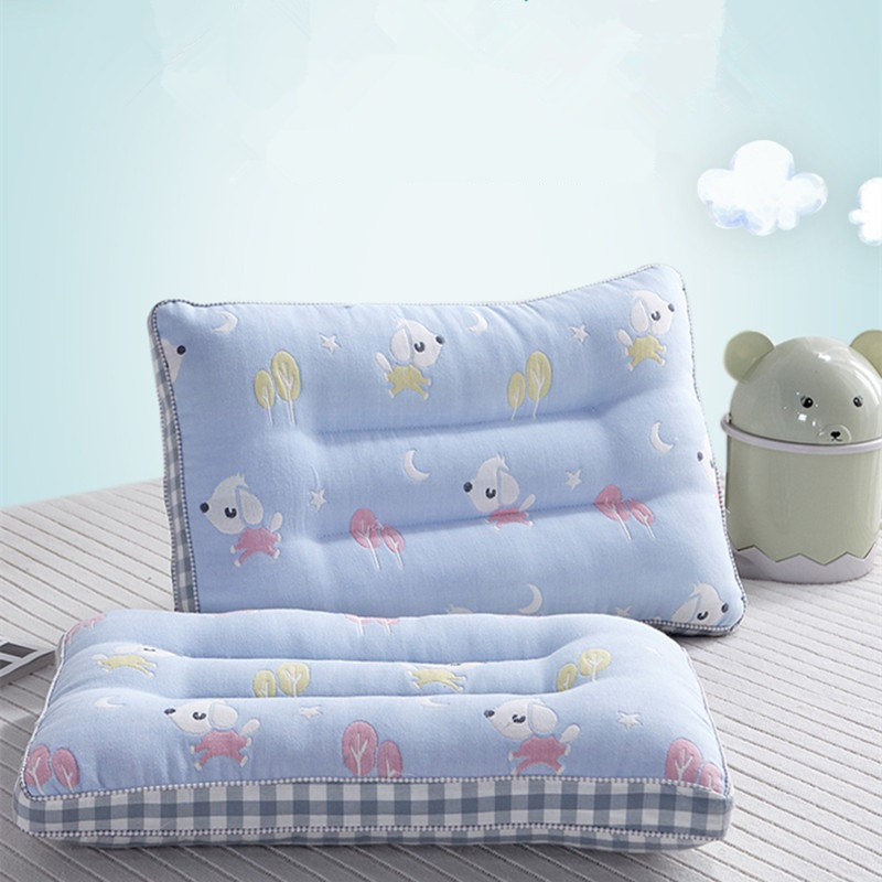6 Layers Muslin Cotton Kids Pillow Sweat Absorbing Sleep Baby Pillow Soft Cushion For Neck Support Washable Cotton Child Pillow