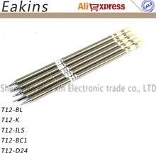 شحن مجاني خالية من الرصاص الحديد نصائح 5 قطعة/الوحدة T12 لحام نصائح لحام الحديد نصائح ل FX951 BAKON 950D محطة لحامt12 soldering tipsoldering tipsoldering iron tip