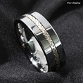 Tungsten Ring Silver Inlay Wedding Band Titanium Color Jewelry Men's jewelry Free Shipping