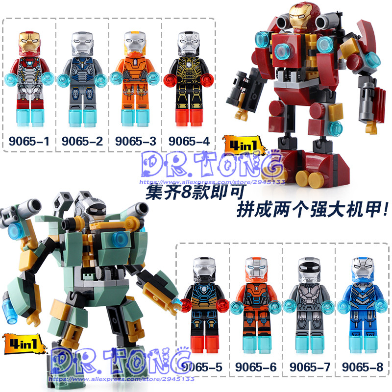 DR.TONG 80PCS/LOT DLP9065 Super Heroes Avengers Iron Man 4 In 1 Hulk Buster Ironman Mini Dolls Bricks Set Model Toys Kids Gifts beibehang papel mural wallpaper for living room tv stone wallpaper vintage tapete paper wallpaper roll papel de parede wall