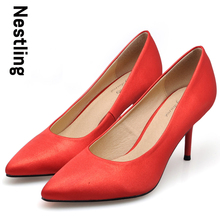 Size 34-40 New 2016 Spring Brand Silk Wedding Shoes Sexy Thin heel Pointed Toe High Heels Women Party Shoes Woman Red Pumps D30