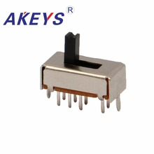 100PCS SS-23D07 2P3T Double pole three throw 3 position slide switch 8 solder lug pin DIP type with 2 fixed pin 100pcs ua741cn ua741 lm741 op amp compensation type dip 8