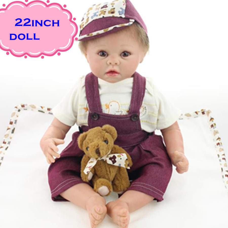 22inch Hot Sale NPK Silicone Reborn Baby Dolls Brinquedos Wearing Deep Purple Braces Soft Lovely Reborn Bebe Munecas For Girl free shipping hot sale real silicon baby dolls 55cm 22inch npk brand lifelike lovely reborn dolls babies toys for children gift