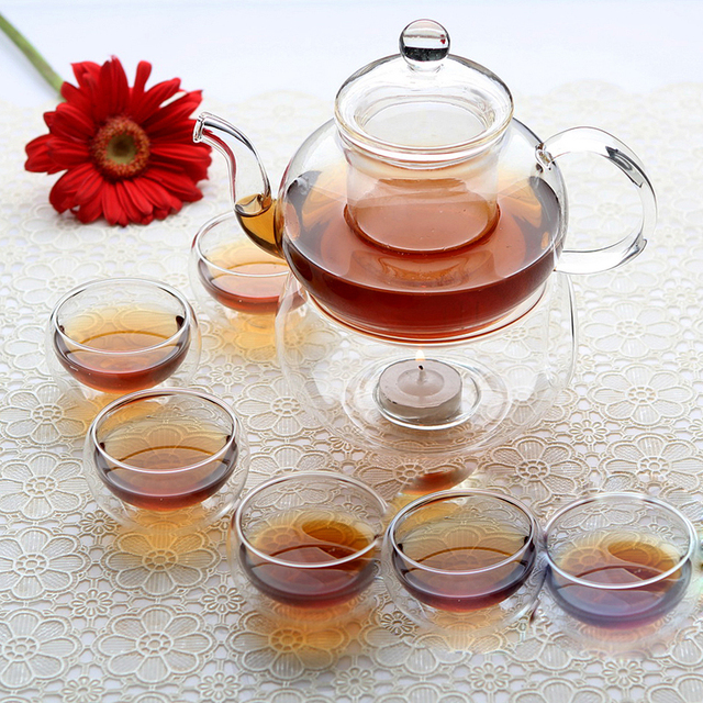 Factory sale ! Glass Tea Set teapot 600ml + 6 x double wall glass tea cups Candle Warmer Base Home Friends Tea