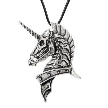 a66680116283 1 unid Viking Caribe fantasma unicornio colgante joyería piratas del cráneo  collar de joyería para las mujeres collar de los hombres