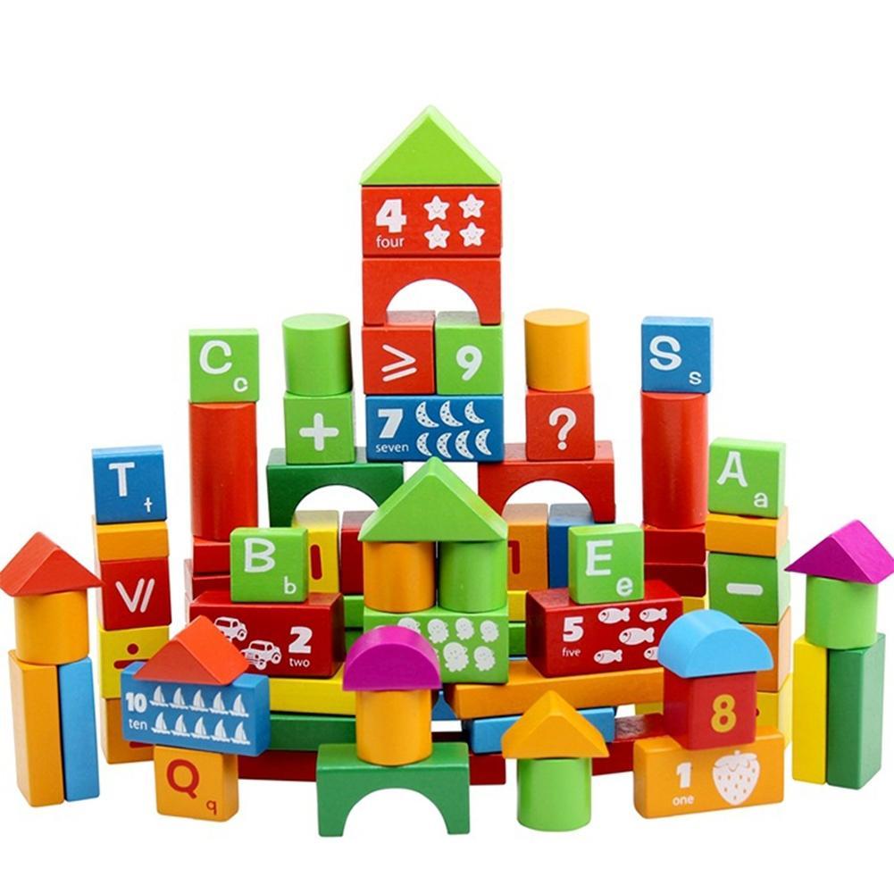RCtown 100 pièces Blocs de Construction En Bois Colorés avec Des Lettres et des Chiffres Impression Jouets Éducatifs pour Enfants zk30