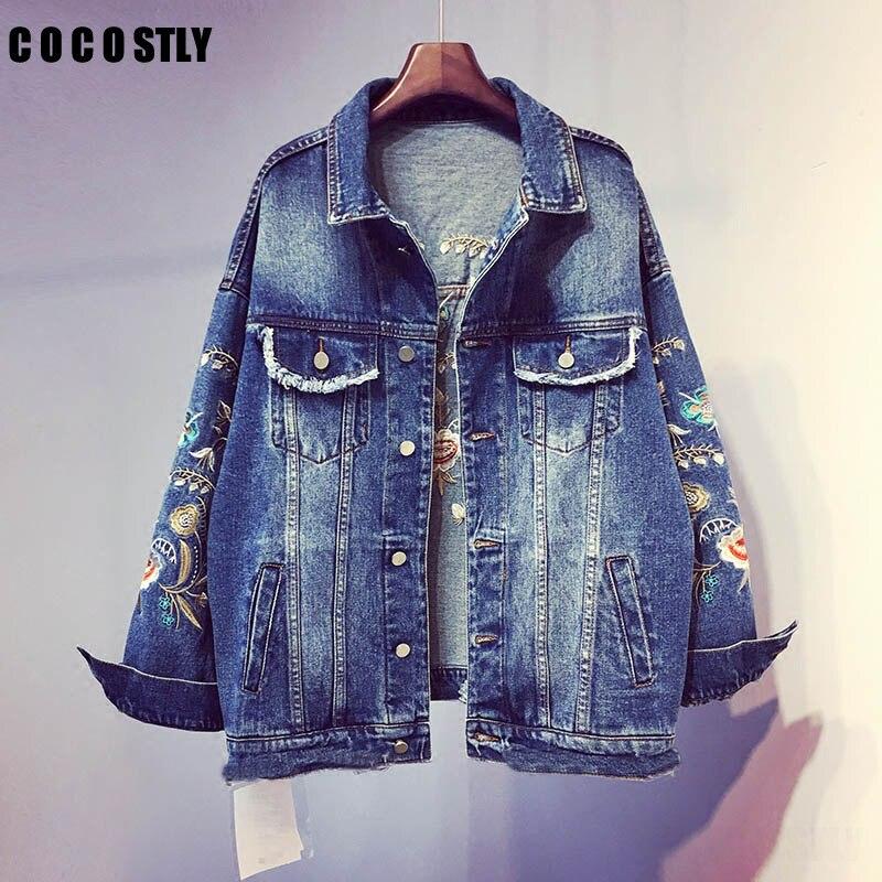 2018 Floral broderie courte veste manteau printemps été femmes Outwear mode Chi Bomber Denim vestes grande taille 5XL