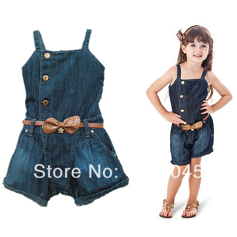 b93ac6e7c22 New Little Girls  Jeans Jumpsuit Children s Jean Shorts Overalls Summer Kids   Suspender Pant Jeans With Belt Free Shipping