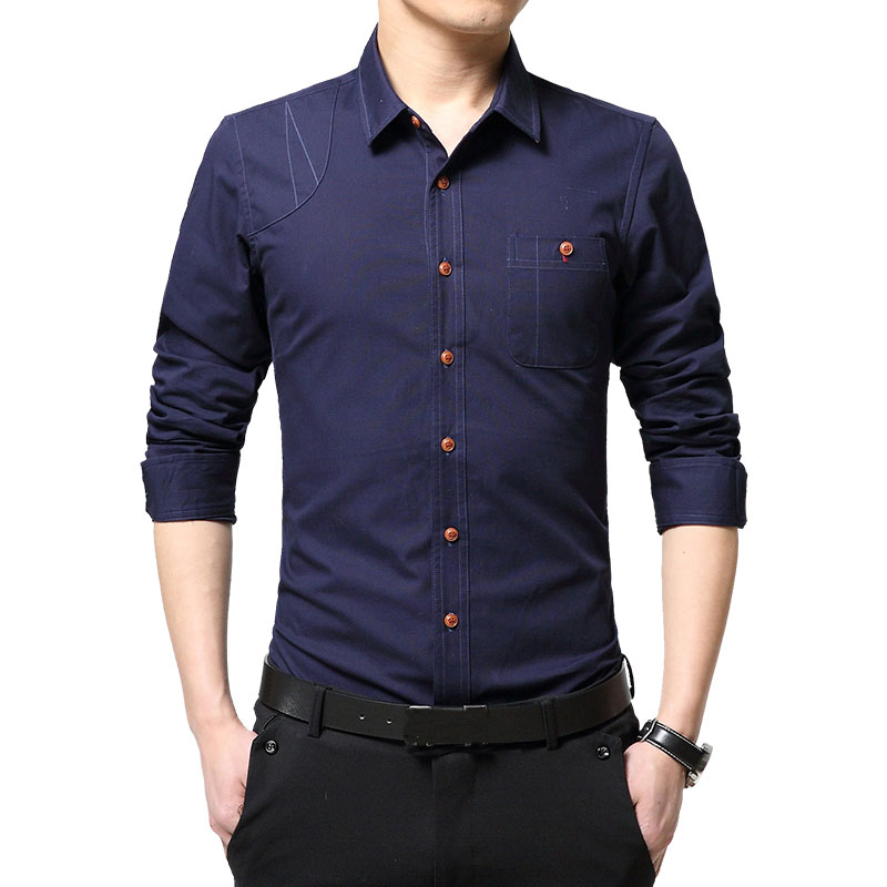 New Spring Solid Dress Shirts Men S Blouses Shirt 4 Color Fashion Slim Casual Camisas Masculine