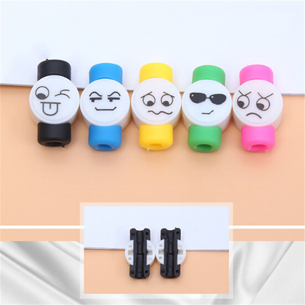 3pcs Funny Smiling Expression Cable Protector Kawaii Stationary Office Usb Cable Organizer Winder Wire Holder Desk Accessories