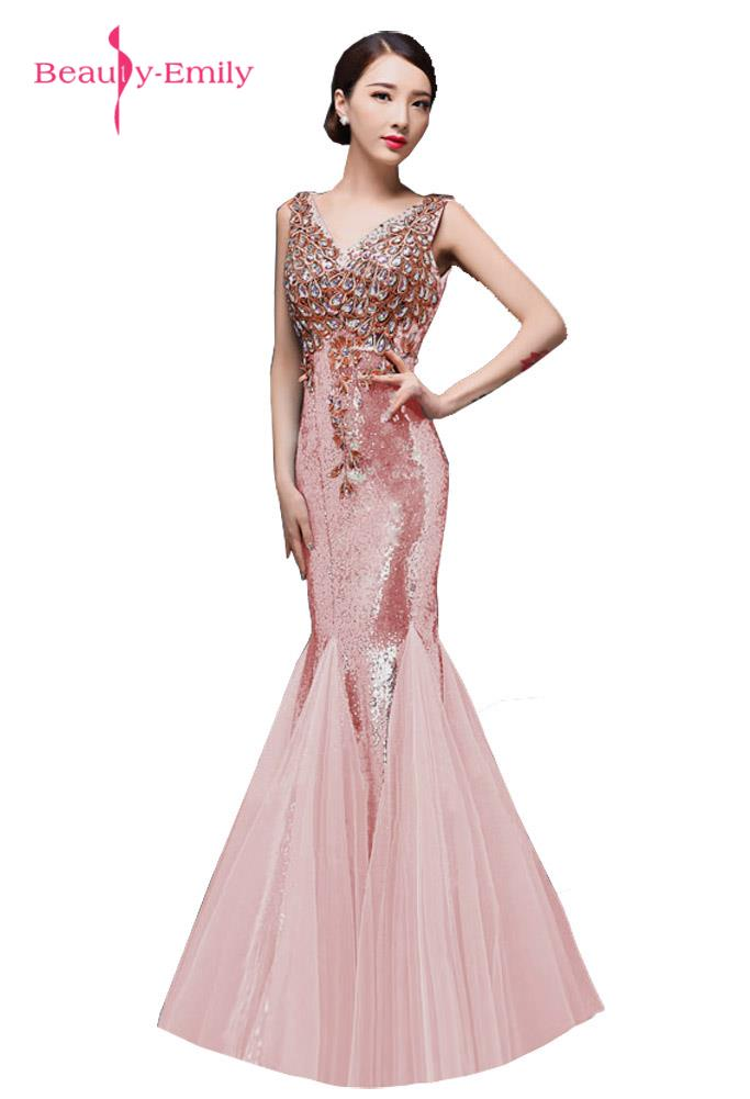Beauty-Emily Long Glod Mermaid   Bridesmaid     Dresses   2017 Beading Sequined V-neck Zipper Sleeveless Fromal Occasion Party   Dress