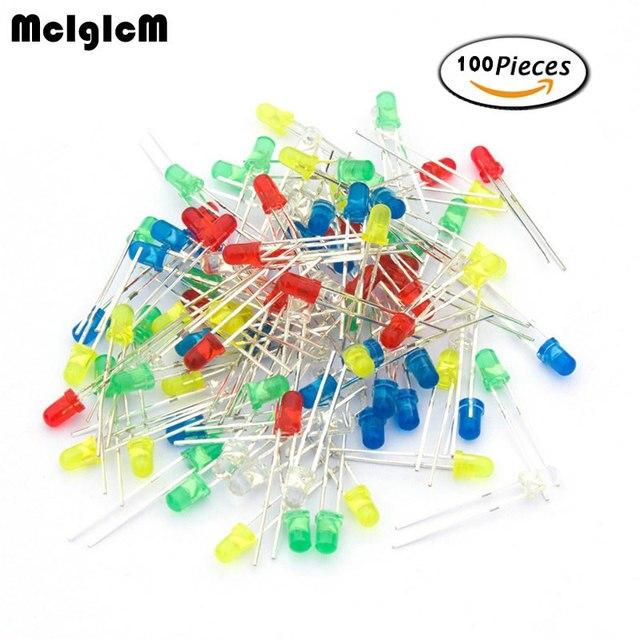 MCIGICM 100pcs 3mm LED Light White Yellow Red Green Blue Assorted Kit DIY LEDs Set electronic diy kit