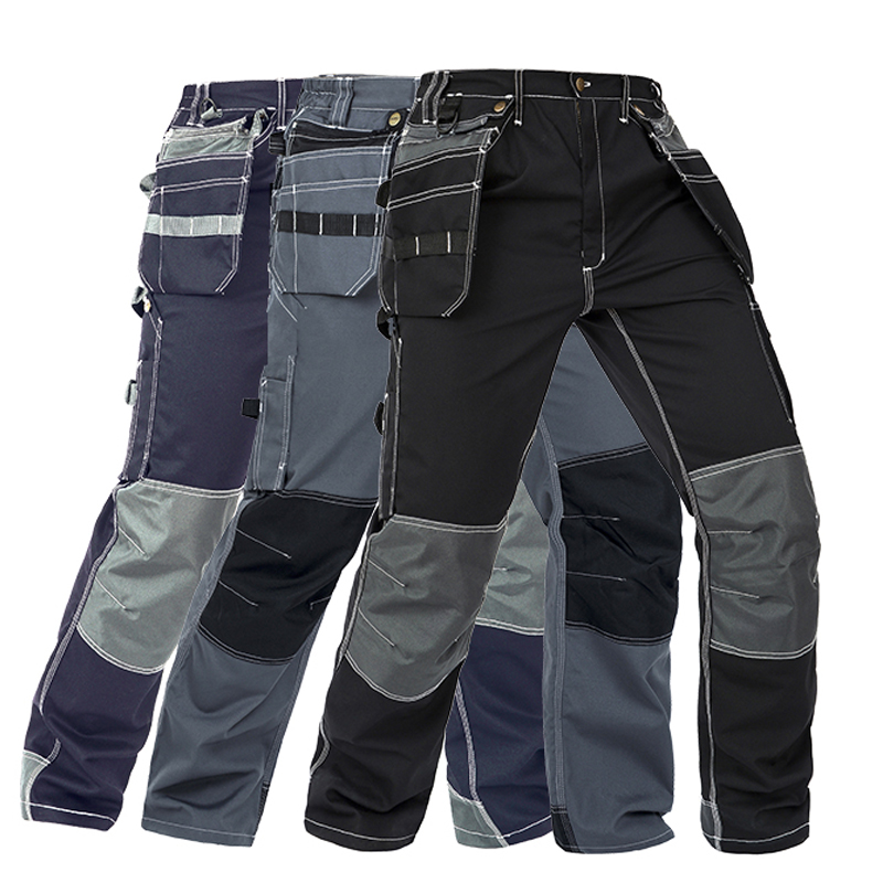 Men Working Pants Multi Functional Pockets Wear resistance Workwear trousers High quality Work Mechanic Repair Mens