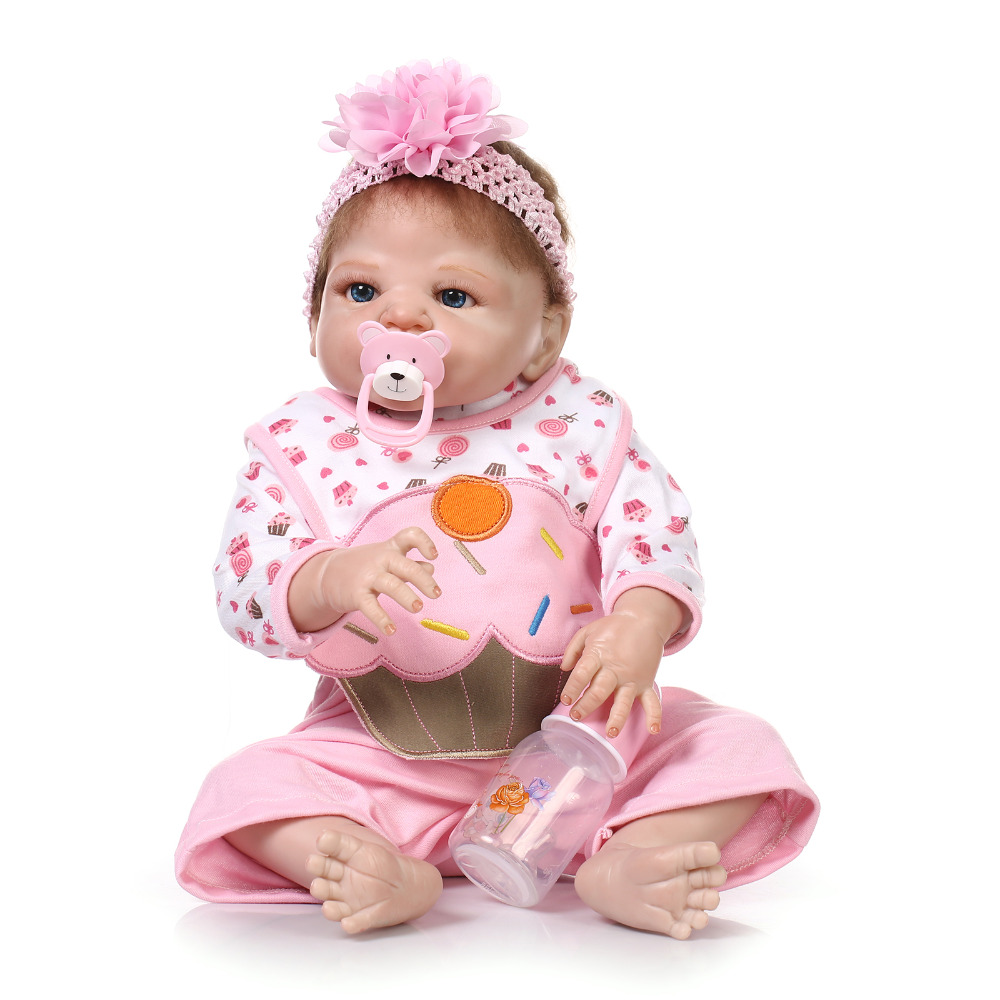 Nicery 22inch 55cm Bebe Reborn Doll Hard Silicone Boy Girl Toy Reborn Baby Doll Gift for Children Pink Hat Dress Girl Baby Doll nicery 22inch 55cm bebe reborn doll hard silicone boy girl toy reborn baby doll gift for children white hat red dress baby doll