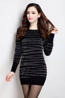 New Large size women Spring Autumn long section Tops hedging Slim Silver Line knit package hip dress S M L XL XXL XXXL 456E