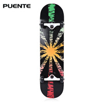 PUENTE Double Snubby Maple Skateboard Longboard 602 ABEC 9 Four wheel Bearing SkateBoard 5 Colors for Entertainment