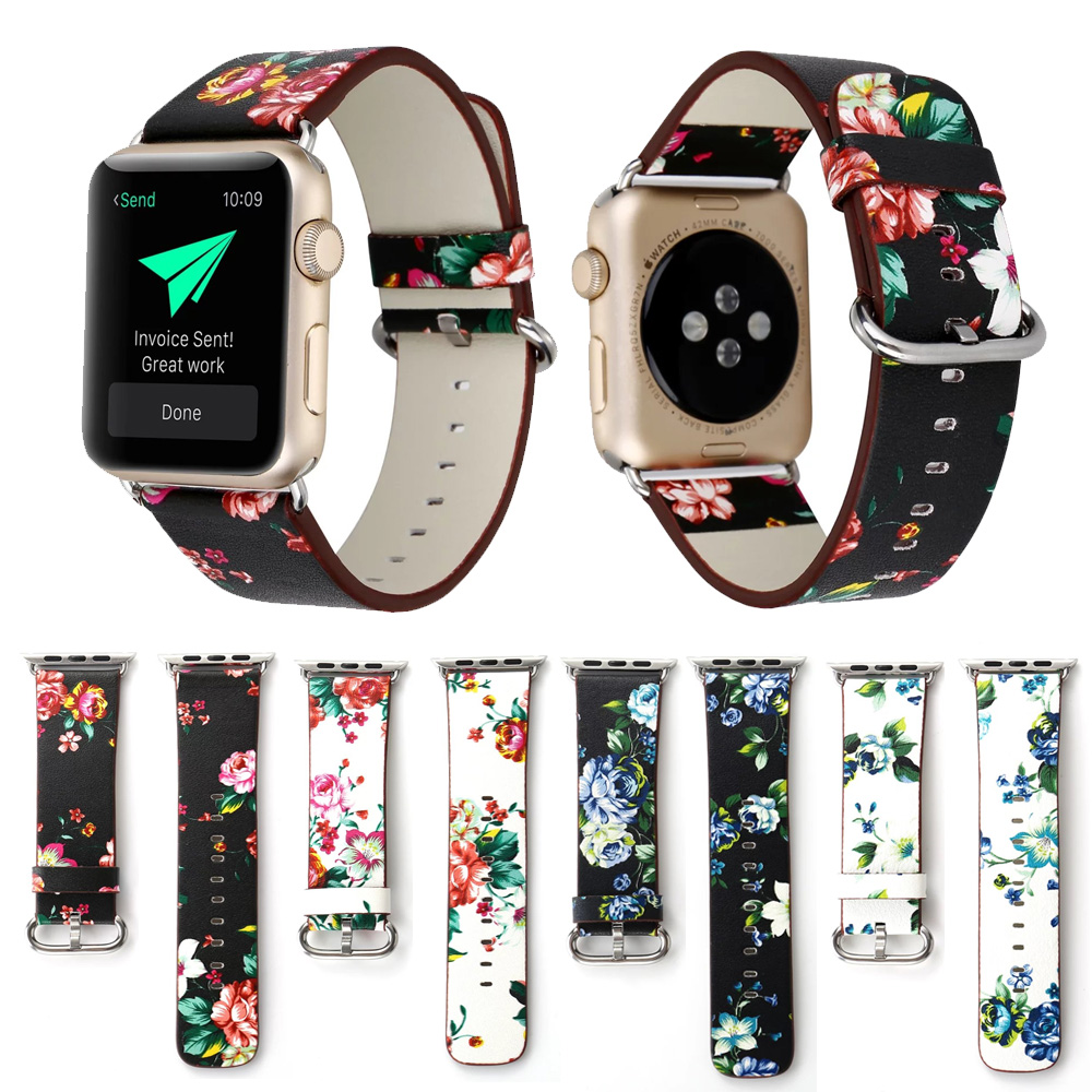 British Rural Style Floral Leather Wrist Strap for Apple Watch Band Flower Bracelet for iWatch Vintage Watchband 38mm 42mmBritish Rural Style Floral Leather Wrist Strap for Apple Watch Band Flower Bracelet for iWatch Vintage Watchband 38mm 42mm
