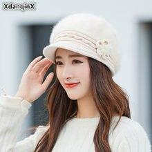 XdanqinX nuevo invierno de las mujeres sombrero de terciopelo cálido boinas  sombreros Pokemon tocado flor para las mujeres conej. 64b60298af2