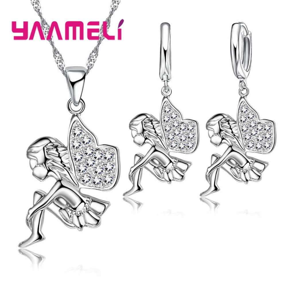 925 Sterling Silver Necklace+Earrings Jewelry Set Mysterious Romantic Style Fairy Modeling For Little Girl Present