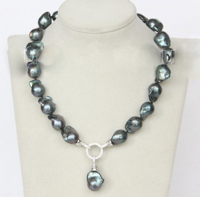 NEW 17 18mm Baroque black-blue Reborn keshi pearls necklaceNEW 17 18mm Baroque black-blue Reborn keshi pearls necklace