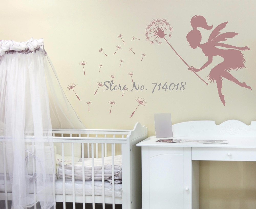 Fairy Blowing Dandelions Wall Decal Dandelion Seeds Wall Art Kids Nursery Wall Mural Large Size Vinyl Decor Vinilos Parede A936-in Wall Stickers from Home ... & Fairy Blowing Dandelions Wall Decal Dandelion Seeds Wall Art Kids ...