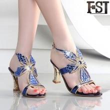 купить FSJ Sandals Women Shoes Genuine Leather Cow Leather Spike Heels High Heel Buckle Strap Print Crystal Sheepskin EU Size 33-41 по цене 3128.22 рублей
