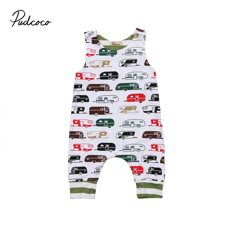 Toddler Baby Boys Girls Infant Romper Jumpsuit Sleeveless Car Cotton Round Neck Costume Outfits Boy Girl Clothing Summer Cute