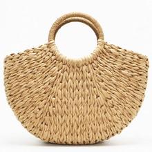 2019 New Straw Bags Women shell moon Bag Summer Rattan Bag Handmade Woven Beach Bag Bohemia Bali Handbag of totes Bolsos mimbre недорого