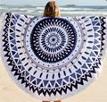 New Arrival Female Polyester Round Beach Towel European Style Retro Peacock Tail Scarves Outdoor Picnic Blanket Beach Towel