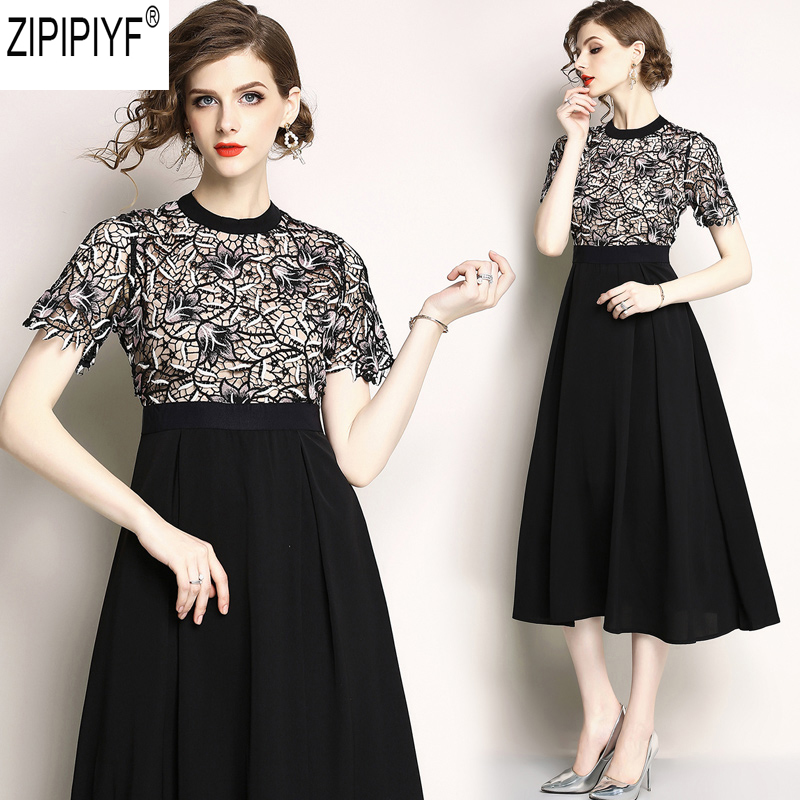 2018 Fashion Lace Patchwork Summer Dress Elegant O-Neck Short Sleeve Dresses Woman Casual High Waist Knee-Length Dress C1165