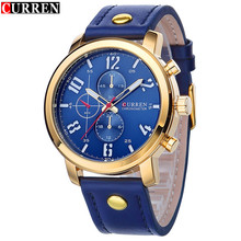 Curren бренд класса люкс синий кожаный ремешок мужчин спорта кварцевые часы мужчины свободного покроя часы водонепроницаемые армейцы часы Relogio Masculino