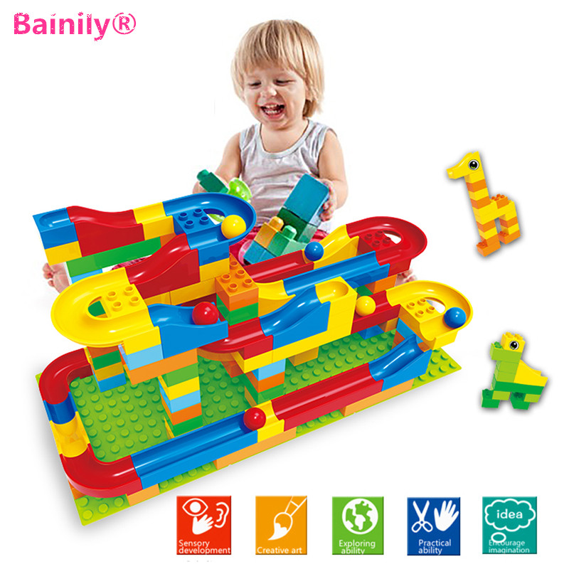 [Bainily]1 Set Run Rolling Ball Rail Building Blocks  Bricks Trajectory Learning Education Toys Compatible With LegoINGly Duploe spacerail diy physics space ball rollercoaster with powered elevator 26000mm rail