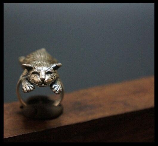 Фото оптовая продажа регулируемое кольцо в стиле ретро с котом модные