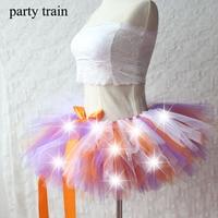 Women Tulle Tutu Skirt Sexy Mini Fancy Adult Petticoat Fluffy Yarn Ballet Dance Skirt Halloween LED