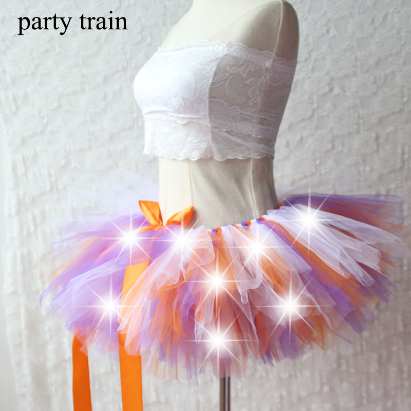 2019 New Arrival Women Tulle Tutu Skirt Sexy Mini Fancy Adult Petticoat Fluffy Yarn Ballet Dance Halloween Led Light Up - Rave