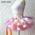 Mujeres de Tulle Tutu Falda Sexy Mini Fancy Adultos Esponjoso Enagua Hilo Tutú de Ballet Falda de La Danza de Halloween LED Light Up-Rave Tutu