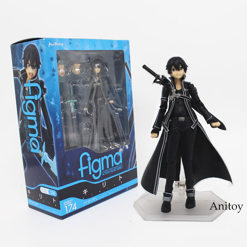 Free Shipping 15CM Anime Sword Art Online kirigaya kazuto Figma 174 PVC Action Figure Collectible Model Toy KT3875 sword art online action figure figma shino kazuto asuna pvc 150mm toys anime sword art online series