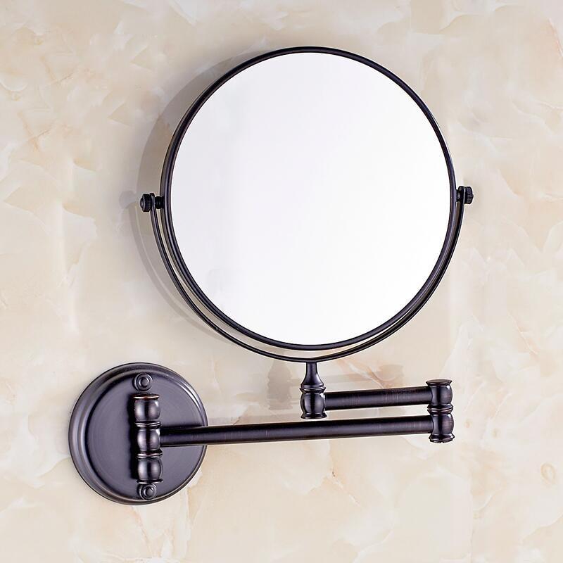Black Antique Copper Bath Mirrors Cosmetic Makeup Mirror 8 Inch Round Retractable Mirror Wall Mirrors YM08 high quality 8 bathroom mirror copper oil rubbed bronze retractable wall mounted bath makeup mirror