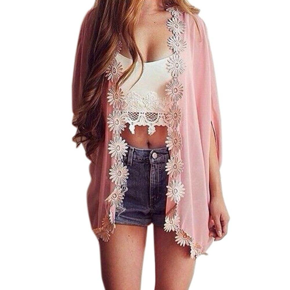 Aliexpress.com : Buy Women Ethnic Lace Flower Loose Kimono ...