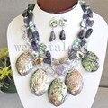 Хороший пауа ушка оболочки зеленый природный жемчуг аметист ожерелье длинное ожерелье серьги женщины ювелирные комплект для женщин