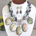 Nice  Paua Abalone Shell Green Natural Pearl Amethyst Statement Necklace Long Drop Earrings woman jewelry sets for women