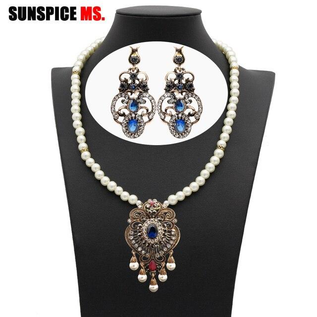 SUNSPICE MS Retro Chuỗi hạt vòng cổ bông tai Bộ Nữ etnic cưới jewlery Thổ Nhĩ Kỳ Dubai truyền thống Trang Sức Vintage mới