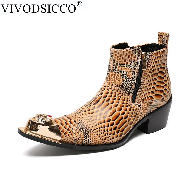 VIVODSICCO Luxury Style Men Ankle Boots Genuine Leather Motorcycle Cowboy Boots Men Snake Skin pointed Toe Boots Dress Shoes damen sandalen leder 38