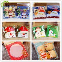 100Pcs Xmas Gift Plastic Bags Cookie Packaging Christmas Santa Claus Reindeer Printed Snacks Candy Storage Bags 10*10cm 50pcs set 28 13cm christmas bags santa claus snowman candy cookie bags with twist ties for xmas party supplies new year gift bag