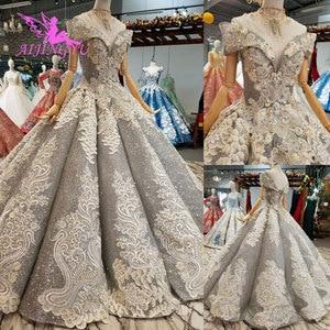 Image 1 - AIJINGYU koronkowe suknie ślubne luksusowe suknie Vintage dojrzałe amerykańskie akcesoria główna ulica prosty długi biały strój na ślub